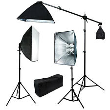 Pro 2400 watt Photo Studio Video continuous softbox boom arm lighting kit