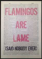 Pink Flamingo Quirky Funny Quote Print Vintage Dictionary Page Picture Wall Art