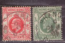 1907-11 British colony in China stamps, Hong Kong KEVII 2c & 4c Shanghai 上海 used