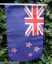 """NEW ZEALAND LARGE HAND WAVING FLAG 18"""" X 12"""" with 24"""" wooden pole WELLINGTON"""