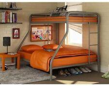 Metal Bunk Bed Twin over Furniture Full Bunk Beds Kids Teens Dorm Bedroom Silver