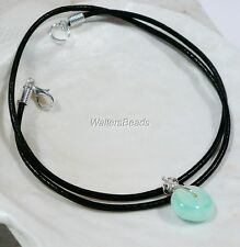 Men & Woman Handmade Cowhide Leather Necklace with Blue Peruvian Opal