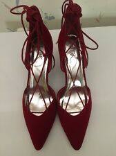 It's Ok Lace Up Stilettos Shoes,4 Inches Heels, Size12M, Color Red, New W/box