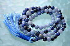 Fifth Throat Chakra Aquamarine Sodalite Lapis Lazuli Mala Beads For Communicatio
