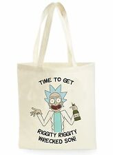FUNNY RICK AND MORTY RIGGITY RIGGITY SHOPPING CANVAS TOTE BAG IDEAL GIFT PRESENT