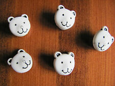 Pack of five, 15mm shank back, resin bear face buttons