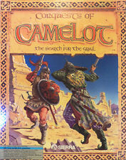 """Conquests of Camelot The Search for the Grail 3.5""""& 5.25"""" PC 1990 Sierra Big Box"""