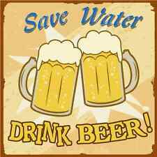 """Save Water Drink Beer Funny Car Bumper Sticker 5"""" x 5"""""""
