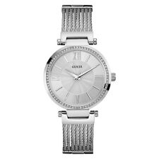 NEW GUESS WATCH for Women * Silver Wire Stainless Steel G-Link Bracelet U0638L1