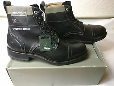 G-STAR RAW MILITARY PAT OFFICER CAP MENS BLACK LEATHER BOOTS SHOES SIZE UK 10 44