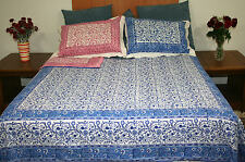 Handmade Cotton Reversible Duvet Cover Rajasthan Floral Full Queen Blue Pink