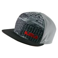 NIKE TRUE LEBRON RUBBER CITY SNAPBACK HAT [ONE SIZE] 729496-012 WOLF GREY/UN RED