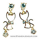 Gold Tone White Sexy Kitty Cat Kitten Bow Drop Earrings Crystal Fashion Jewelry