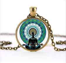 Meditation, yoga, Om Cabochon Glass Bronze Necklace for men woman jewelry