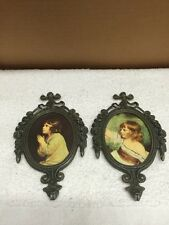 Vintage Pair Of Mini Brass Frame Little Girl Pictures/Wall Hangings