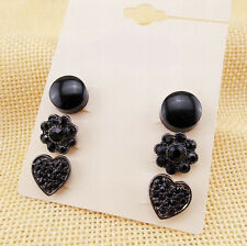 3 Pairs/Set Cool Black Flower Sweet Heart Round Crystal Lady Party Earrings