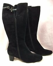 Ecco Black Suede Tall Heeled Boots Size 8.5M Euro 39  Never Worn!