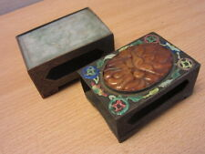 Pair of Antique Chinese Matchbook Covers Carved Green and Red Jade