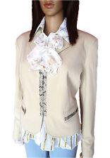 AL44 Vintage YOKOO Casual Business Formal Faux Snake Trim Beige Elegant Jacket S