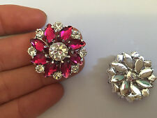 2 large crystal buttons rhinestone diamante wedding upholstery pink flower UK -2
