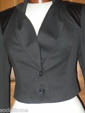 Guess Black Blazer size 2 Cropped Satin shoulder Fully Lined