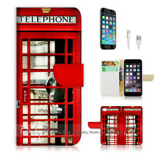 """iPhone 6 Plus (5.5"""") Print Flip Wallet Case Cover! Old UK Phone Booth P0096"""