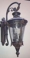 oil rubbed bronze outdoor iron scroll coach wall sconce light clear wavy glass