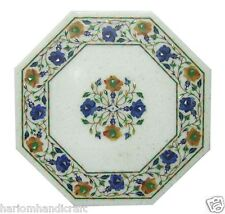 "12"" Marble Coffee Table Top Lapis Hakik Inlay Mosaic Garden Decor H1154"
