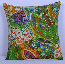 "16"" INDIAN PAISLEY PRINT CUSHION PILLOW COVERS KANTHA THROW Ethnic Decorative"