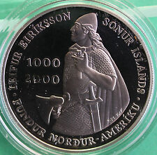 2000 Leif Ericson Island 1000 Kronur Proof 90% Silver Coin ONLY Commemorative