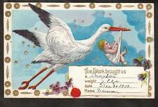 1912 Stork carries baby Hearty Congratulations new arrival greetings postcard