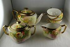 Nippon Porcelain Hand Painted Floral & Gold Tea Set - Green Mark #47