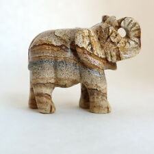 New Genuine PICTURE JASPER or MARCASITE Stone Carved Elephant
