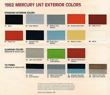 1982 Mercury LN7 COLOR CHART Chip Paint Sample Brochure: LN-7