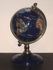 "COSMOCOLOR GLOBUS WORLD GLOBE BRASS and INLAID GEMSTONES 8"" TALL ROTATING GLOBE"