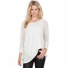 2016 NWT WOMENS VOLCOM LIVED IN GO CREW $35 S vintage white long sleeve tee