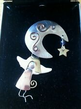 ADORABLE CRESCENT MOON STAR GUARDIAN ANGEL GIRL BROOCH Tri Color PIN 7a 45