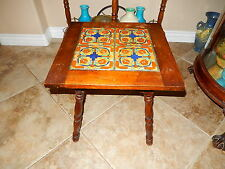 OLD TEXAS MEXICAN OR CALIFORNIA ART DECO ERA 4 TILE Children Holding Hand TABLE