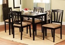 5 Piece Dining Set Modern Table Chairs Dinner Dinette Furniture Black Room New