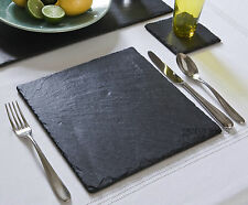 12 Piece Natural Slate Square Placemats & Coasters Tablemats Dinner Drinks Set