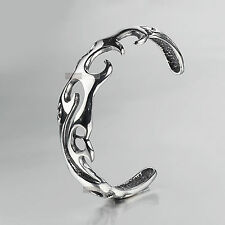 SILVER BRACELET BANGLE STAINLESS STEEL MENS CUFF VINTAGE STYLE