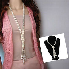 Fashion Women Faux Pearls Long Sweater Chain Charms Knot Necklace Collar Jewelry