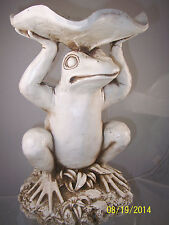 Andre by Sadek White Frog with Lily Pad Resin Figurine Outdoor Birdbath/Feeder