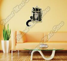 "Cute Cat In Bird Cage Cartoon Gift Idea Wall Sticker Room Interior Decor 20""X25"""