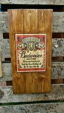 Budweiser sign plaque wooden sign  mancave shed bar pub