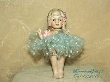 ANTIQUE JAPAN BISQUE FROZEN CHARLOTTE JOINTED ARMS TUTU SKIRT MINIATURE DOLL