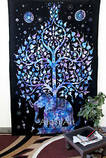 Twin Psychedelic Tree of Life Elephant Tapestry Wall Hanging Ethnic Art Throw UK