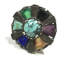 Rare! Vtg Signed MIRACLE Multi Color Agate Silver Scarf Clip Brooch Pin GG49m