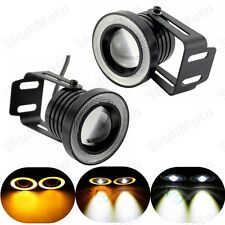Universal Motorcycle Bike Car LED Angel Eye Headlight Turn Signal Fog Light Lamp