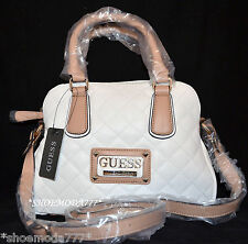 GUESS Ashlyn Synth. Leather Quilted Satchel Shoulder Bag Purse Logo New White